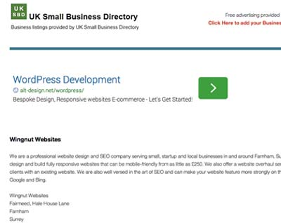 UK Small Business Directory has an option for free registration.