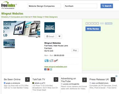 FreeIndex directory listing for your business with help your SEO.
