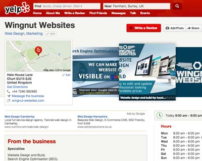 Yelp business listing for off-page SEO